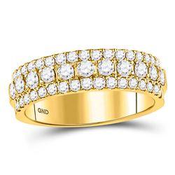 Womens Round Diamond Triple Row Comfort Wedding Band 1 Cttw 10kt Yellow Gold - REF-68M5H