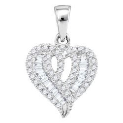 Womens Round Baguette Diamond Heart Pendant 1/5 Cttw 10kt White Gold - REF-13Y9N