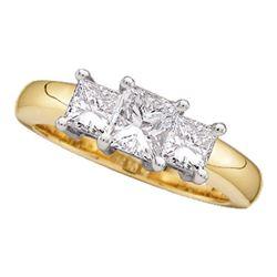 Princess Diamond 3-stone Bridal Wedding Engagement Ring 1/4 Cttw 14kt Yellow Gold - REF-23W5K