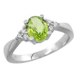 1.06 CTW Peridot & Diamond Ring 10K White Gold - REF-28K4W