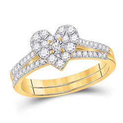 Round Diamond Heart Bridal Wedding Ring Band Set 1/2 Cttw 10kt Yellow Gold - REF-38R9X