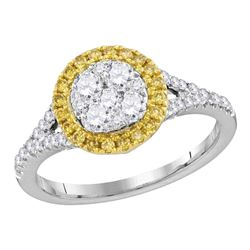 Womens Round Yellow Diamond Cluster Ring 3/4 Cttw 18kt White Gold - REF-93W9K