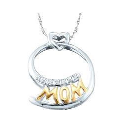 Womens Round Diamond Mom Mother Pendant 1/20 Cttw 10kt Two-tone Gold - REF-5K9Y