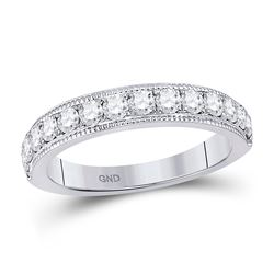 Womens Round Diamond Wedding Single Row Band 3/4 Cttw 14kt White Gold - REF-58F9W