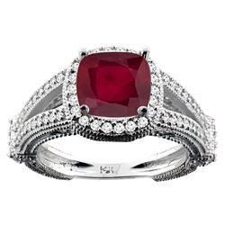 3.85 CTW Ruby & Diamond Ring 10K White Gold - REF-53M2K
