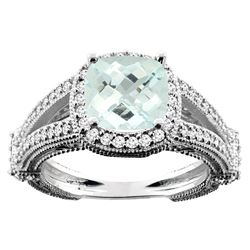 4.10 CTW Aquamarine & Diamond Ring 14K White Gold - REF-65A5X