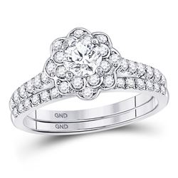 Round Diamond Bridal Wedding Ring Band Set 1 Cttw 14kt White Gold - REF-153W5K