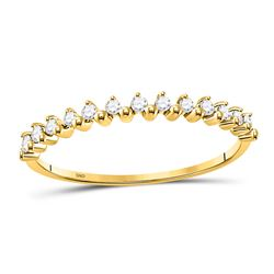 Womens Round Diamond Stackable Band Ring 1/8 Cttw 10kt Yellow Gold - REF-9A9M