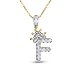 Mens Baguette Diamond Crown F Letter Charm Pendant 5/8 Cttw 10kt Yellow Gold - REF-27H9R