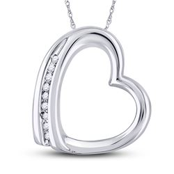 Womens Round Diamond Heart Pendant .03 Cttw 10kt White Gold - REF-5F9W
