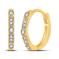Womens Round Diamond Milgrain Fashion Earrings 1/10 Cttw 10kt Yellow Gold - REF-15H9R