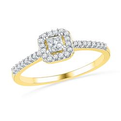 Princess Diamond Solitaire Bridal Wedding Engagement Ring 1/4 Cttw 10kt Yellow Gold - REF-20A9M