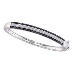Womens Round Black Color Enhanced Pave-set Diamond Bangle Bracelet 1-3/8 Cttw 14kt White Gold - REF-
