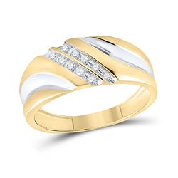 Mens Round Diamond 2-tone Wedding Anniversary Band Ring 1/8 Cttw 10kt Yellow Gold - REF-20A9M