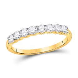 Womens Round Diamond Single Row Band Ring 1/2 Cttw 14kt Yellow Gold - REF-30R5X