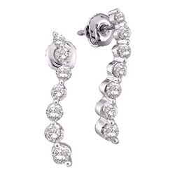 Womens Round Diamond Journey Earrings 1/4 Cttw 14kt White Gold - REF-19F5W