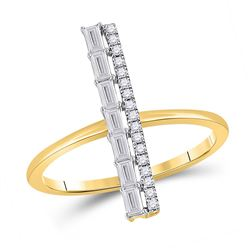 Womens Baguette Diamond Linear Bar Fashion Ring 1/3 Cttw 14kt Yellow Gold - REF-34N5F