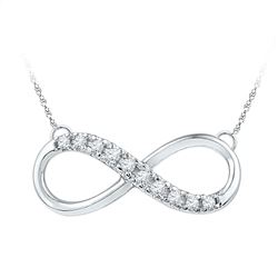 Womens Round Diamond Infinity Pendant Necklace 1/10 Cttw 10kt White Gold - REF-16N9F