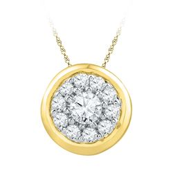 Womens Round Diamond Cluster Pendant 1/4 Cttw 10kt Yellow Gold - REF-15F9W