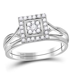 Round Diamond Square Bridal Wedding Ring Band Set 1/3 Cttw 10kt White Gold - REF-31N9F