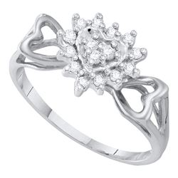 Womens Round Diamond Heart Ring 1/5 Cttw 10kt White Gold - REF-12R5X