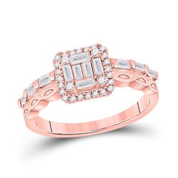 Womens Baguette Diamond Square Cluster Ring 5/8 Cttw 14kt Rose Gold - REF-71R9X