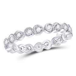 Womens Round Diamond Heart Eternity Band Ring 3/8 Cttw 10kt White Gold - REF-32W5K