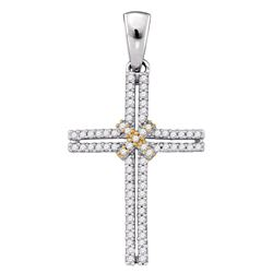 Womens Round Diamond Bound Cross Religious Pendant 1/5 Cttw 10kt Two-tone Gold - REF-14M9H