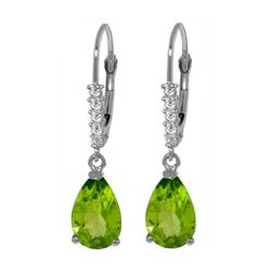 Genuine 3.15 ctw Peridot & Diamond Earrings 14KT White Gold - REF-44F3Z