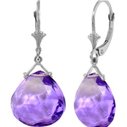 Genuine 17 ctw Amethyst Earrings 14KT White Gold - REF-38F2Z