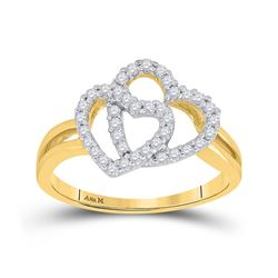 Womens Round Diamond Double Heart Ring 1/4 Cttw 14kt Yellow Gold - REF-32W9K