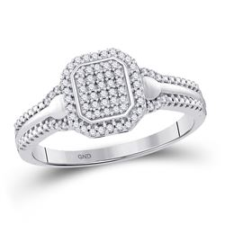 Womens Round Diamond Square Cluster Ring 1/5 Cttw 10kt White Gold - REF-16K9Y