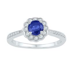 Womens Round Lab-Created Blue Sapphire Round Ring 1 Cttw 10kt White Gold - REF-23A9M