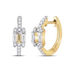 Womens Baguette Diamond Hoop Earrings 1/3 Cttw 14kt Yellow Gold - REF-43K5Y