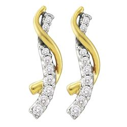 Womens Round Diamond Journey Earrings 1/2 Cttw 14kt Yellow Gold - REF-41X5A