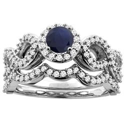 1.10 CTW Blue Sapphire & Diamond Ring 10K White Gold - REF-98K7W