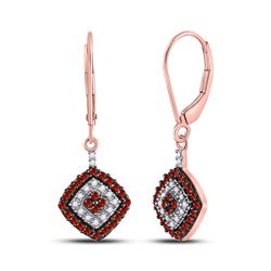 Womens Round Red Color Enhanced Diamond Square Dangle Earrings 1/2 Cttw 10kt Rose Gold - REF-21X5A