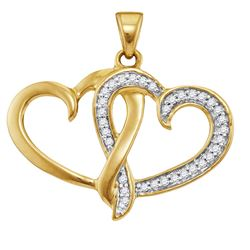 Womens Round Diamond Double Joined Heart Pendant 1/10 Cttw 10kt Yellow Gold - REF-7X5A