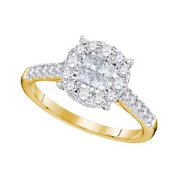 Princess Round Diamond Cluster Bridal Wedding Engagement Ring 3/4 Cttw 14kt Yellow Gold - REF-59A9M