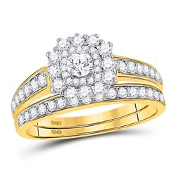 Round Diamond Bridal Wedding Ring Band Set 1 Cttw 14kt Yellow Gold - REF-82F9W