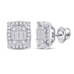 Womens Baguette Diamond Cluster Earrings 1/2 Cttw 14kt White Gold - REF-49M9H