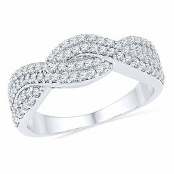 Womens Round Diamond Crossover Band Ring 1/2 Cttw 10kt White Gold - REF-26M5H