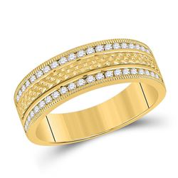 Mens Round Diamond Wedding Band Ring 1/2 Cttw 14kt Yellow Gold - REF-74A9M