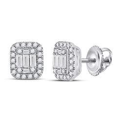 Womens Baguette Diamond Cluster Earrings 7/8 Cttw 14kt White Gold - REF-69R9X