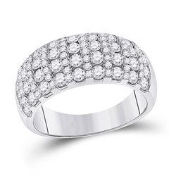 Womens Round Diamond Cocktail Anniversary Ring 1-7/8 Cttw 14kt White Gold - REF-122H5R