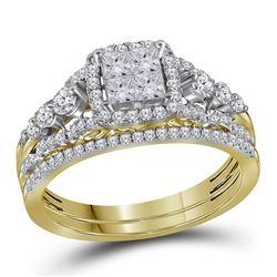 Princess Diamond Bridal Wedding Ring Band Set 1 Cttw 14kt Yellow Gold - REF-71F5W