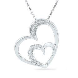 Womens Round Diamond Heart Pendant 1/20 Cttw 10kt White Gold - REF-9A5M