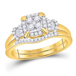 Round Diamond Square Bridal Wedding Ring Band Set 3/8 Cttw 10kt Yellow Gold - REF-35F5W