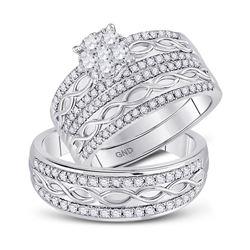 His Hers Round Diamond Cluster Matching Wedding Set 1 Cttw 10kt White Gold - REF-76M5H