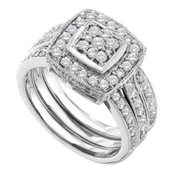 Diamond Cluster 3-Piece Bridal Wedding Ring Band Set 1 Cttw 14kt White Gold - REF-96X9A